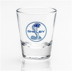 Glass Shot Glass with Blue Shelby Snake