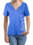 Ladies Relaxed Split-V Blue Heather Tee