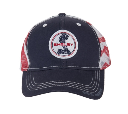 Super Snake Red, White and Blue Mesh Hat