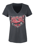 Ladies Red Cobra Charcoal V-Neck Tee