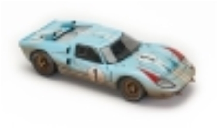 1:18 1966 Gulf Blue Ford GT40 Le Mans #1 After Race Diecast