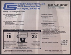 Shelby Monroney Windshield Sticker (2007-2009)
