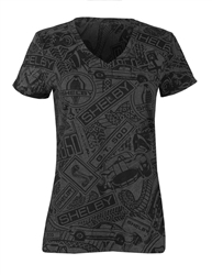 Ladies Allover Collage Black Tee