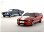 Then (1968) and Now (2007) Shelby GT500 Framed Print with Double Mat