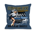 American Muscle Cowgirl Throw Pillow