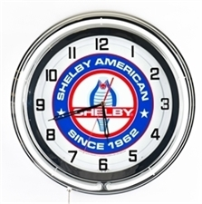 "19"" Blue Neon Shelby American Clock"