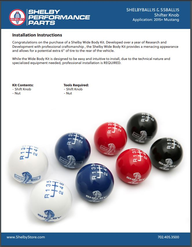 2015-2021 Shelby Shift Knob Installation Instructions