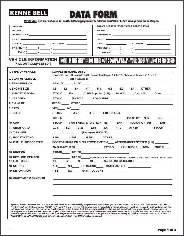 Kenne Bell Data Form