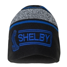 Black Shelby Beanie with Blue and Grey Stripes