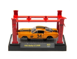 1:64 1965 Orange Shelby GT350R Diecast Model Kit with Auto Lift