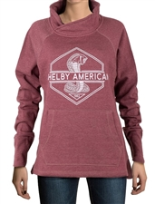 Ladies Shelby American Maroon Funnel Neck Pullover