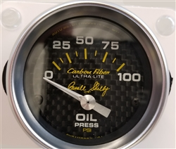 "Shelby Carbon Fiber Oil Pressure Gauge 2-1/16"" electrical"