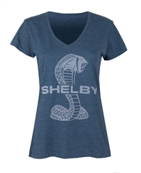 Ladies Burnout Super Snake Navy V-neck Tee