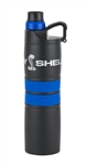Black Water Bottle with Blue Double Stripe