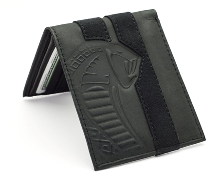 Snake Head Black Leather Wallet with Alcantara Stripe