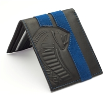Snake Head Black Leather Wallet with Alcantara Blue Stripe