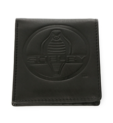 SHELBY BLACK WALLET WITH SNAKE LOGO AND WHITE STRIPE