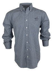 Navy Gingham Long Sleeve Button Down Shirt