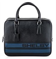Shelby Black Leather Business Bag with Blue Stripes
