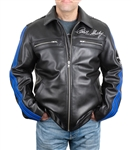 Black Leather Jacket with Blue Racing Stripes