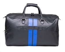 Shelby Black Leather Duffel Bag with Blue Racing Stripes