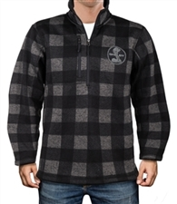 Shelby Black and Grey Plaid 1/4 Zip Sweater