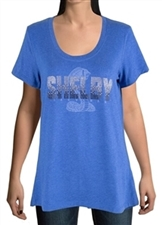 Shelby Womens Ombre Rhinestone Blue T-shirt
