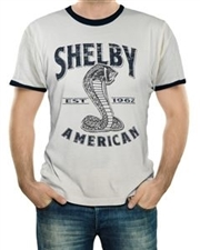 Shelby American Natural and Navy Ringer Tee