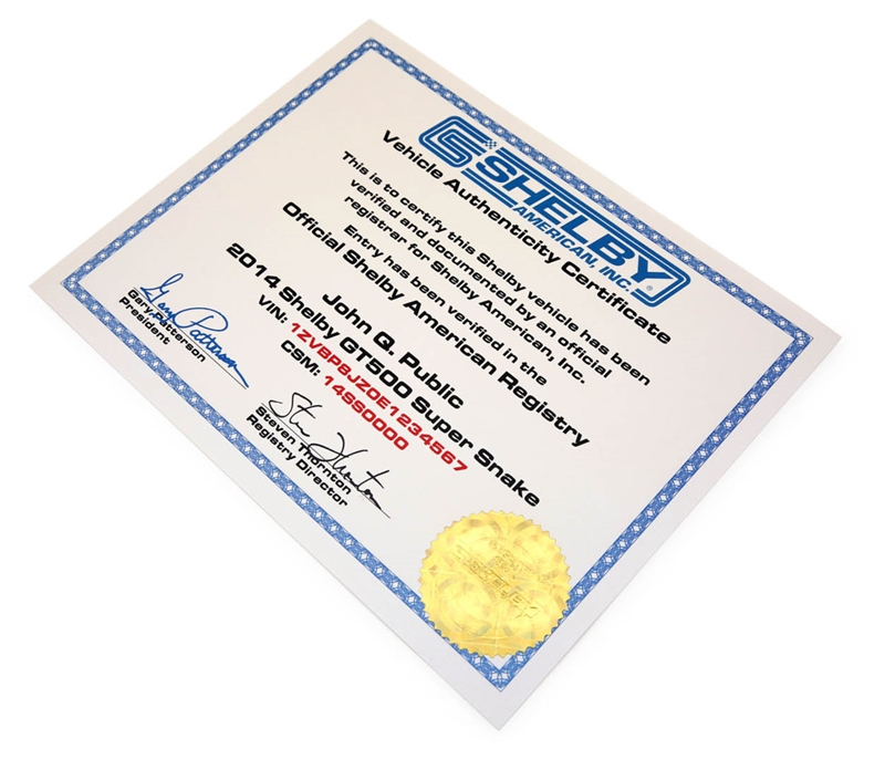 2006-2020 Shelby Registry Vehicle Authenticity Certificate