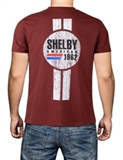 Shelby American Double Stripe Red Tee