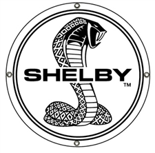 Black and White Shelby Snake Disc Metal Sign