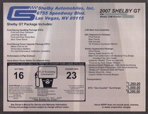Shelby Monroney Windshield Sticker 2007 2009