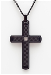 Carbon Fiber and Black Stainless Steel Cross Pendant