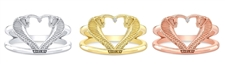 Shelby Snakes Heart Double Band Ring