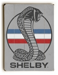 Red, White & Blue Shelby Snake on Weathered Grey Wooden Sign