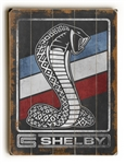 Red, White & Blue Shelby Snake on Weathered Black Wooden Sign