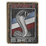 Customized Red, White & Blue Shelby Snake on Weathered Black Wooden Sign