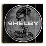 Shelby Super Snake on Weathered Black Wooden Sign