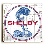 Shelby Super Snake on Weathered White Wooden Sign