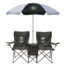 Double Chair with Cooler  & 6 ft Umbrella Combo