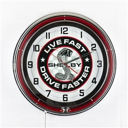 "19"" Red Neon Live Fast Drive Faster Clock"